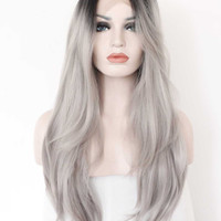 Ombre Gray 2 Tones Synthetic Lace Front Wig Dark Roots Long Natural Straight Silver Grey Replacement Hair Wigs