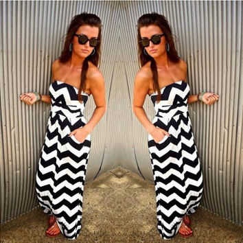 Strapless striped Jumpsuits 8301497