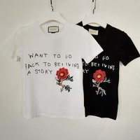 gucci flower embroidered cotton t shirt