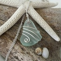 Handmade in Hawaii, wire wrapped Seafoam sea glass necklace, 20 inch 925 sterling silver chain, gift box.Hawaii jewelry gift.