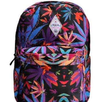 ZLYC Women Girls Colorful Maple Leaf Weed Print Casual Travel Rucksack Canvas School Backpack Multi
