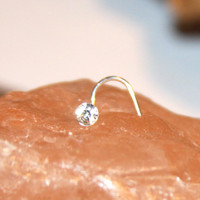 Clear Crystal Nose Stud Ring, Cartilage Stud, tragus cartilage Stud, Tiny Gold Nose Ring, Tiny Nose Ring, Nose Jewelry