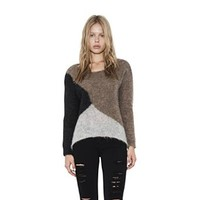 Womens Brown Combo Xander Mohair Pullover Long Sleeve Sweater By One Grey Day