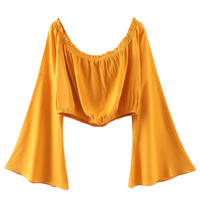 Yellow Off Shoulder Flared Sleeve Crop Top
