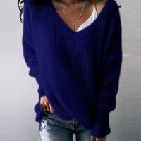 New product explosion color solid color V-neck long section ladies shirt sweater
