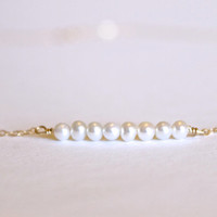 Fresh Water Pearl Necklace - 14k Gold or Sterling Silver - Bead Bar Necklace - Delicate Necklace - Small Pearls - June Birthstone - Layering