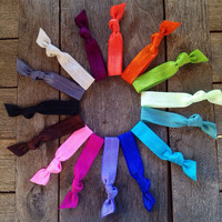 15 Hand Dyed Hair Ties-Ponytail Holders Collection by Elastic Hair Bandz on Etsy