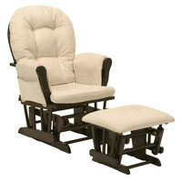 Glider Chair with Arm Cushions & Ottoman in Espresso / Beige