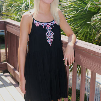The Lillian Embroidered Neck Tiered Black Sundress