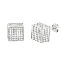 Sterling Silver Micro Pave Stud Earrings Square Cube 3d Sidestones 8mm x 8mm