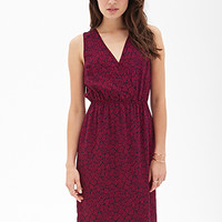 LOVE 21 Matchstick Print Surplice Dress Navy/Magenta