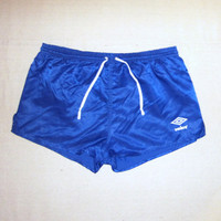 Vintage Rare 80s UMBRO SHINY ATHLETIC Lined Soccer Work Out Bright Blue Men Size 36 Gym Nylon Shorts