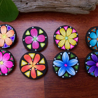 Flower Buttons, polymer clay shank buttons, 1 inch, set of 8