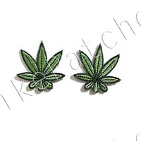 Iron On Patch Set 2 Pieces. Weed Reggae Patches Weed Gifts Cute Patches Weed Patch Iron On Patch Pack Applique Iron On Appliques