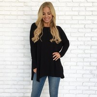 Made For Me Sweater Top in Black