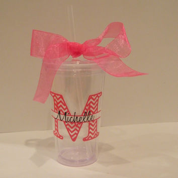 Personalized Chevron split letter with name Acrylic Insulated Cup- bachelorette party favor, engagment party favor, iced coffee cup