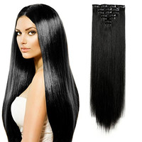 """Onedor 20"""" Curly or 24"""" Straight Full Head Kanekalon Futura Heat Resistance Hair Extensions Clip on in Hairpieces 7pcs 140g (1B# Off Black - Straight)"""