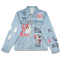 Off White New fashion letter arrow print long sleeve coat jacket Light Blue