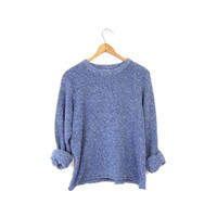 Nubby Knit Slouchy Cropped Sweater Simple Minimal Blue Pullover Shirt Plain Long Sleeve Top Basic Oversized Sweater Vintage Small Medium