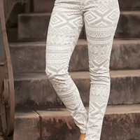 Extraordinary Tribal Jeggings Taupe
