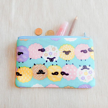 Sheep Pencil Case/ Gift for Her/ Make Up Bag/ BFF Gift/ Bridesmaid Gift/ Birthday Gift/ Gift for Mom/ Wife Gift/ Pouch/ Gift for Girlfriend