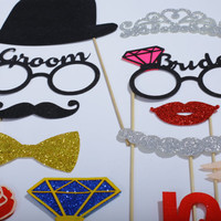 Wedding Photo Booth Props - 30 piece set FELT and GLITTER - Wedding Photo Props - Wedding Receptions Decorations