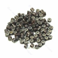 Lot of 100 pcs Silicone Micro Ring Feather Hair Extensions Crimp Beads D-Brown