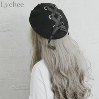 Lychee Japanese Lolita Style Women Ring Ribbon Lacing Bow Wool Hat Harajuku Casual Loose Black Beret