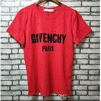 Givenchy High Quality Designr s Hip hop Hole T-shirt Short sleeves T shirts For Women and Men Summer Cotton Breathable B8 s