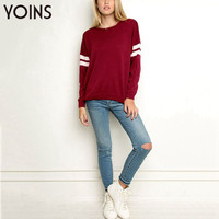 YOINS New Arrival Autumn Winter Women Fashion Loose Batwing Sleeve with White Stripe Pullover Sweater Knitwear