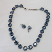 Blue Swarovski Crystal Necklace - Gift for your Valentine-Gift for Lovers of Blue And Black
