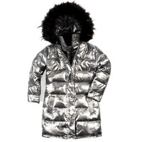 Appaman Girls' Gunmetal Camo Long Down Coat