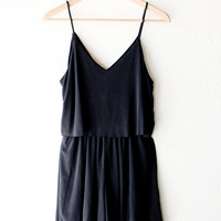 Black V-neck Cami Romper