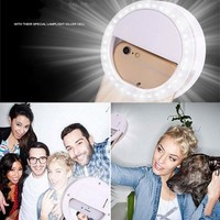 Selfie Portable Flash Led Camera Phone Photography Ring Light for Smartphone iPhone Samsung White