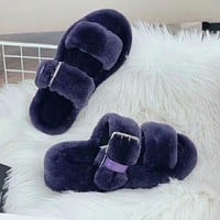 UGG new fashion double pole plush slippers sandals plush slippers Boots Shoes Gray