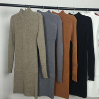 Spring Autumn Winter Women Dress Slim S-Line Medium Style Knitted Dress Basic Solid Half Turtleneck Sweater Dress