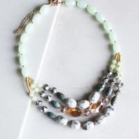 Sweet As Honey Beaded Necklace in Green