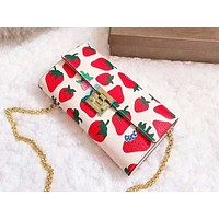 GUCCI hot selling lady's casual shoulder bag fashionable strawberry print shopping bag #1