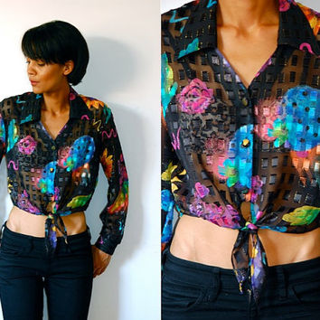 Vtg Sheer Black Floral Print Cropped Waist Tie Button Down LS Shirt