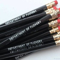 Department of Fuckery Pencil Set in Black | Set of 5 Funny Sweary Profanity Pencils