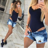Hot sale summer women bodysuits solid bodysuits Sexy Harness v-neck lace bodysuits  women clothing F0188