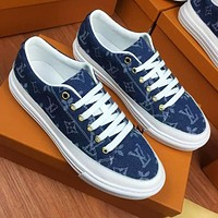 Alwayn Louis Vuitton LV New casual couple canvas print sneakers Shoes