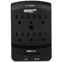 Monster 6-outlet Core Power 650 Wall Tap With 2 Usb Ports