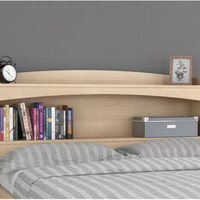 Stylish Full-Size Headboard With Storage Bedroom Furniture Natural Maple Finish