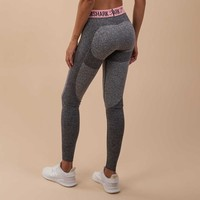 Gymshark Flex Leggings - Charcoal Marl/Peach Pink