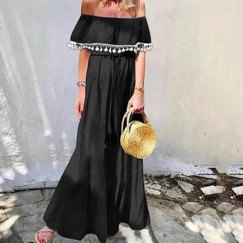 Long Dress Women Sexy Sleeveless Off Shoulder Dresses Sundress Vintage Vestidos Plus Size Solid Robe
