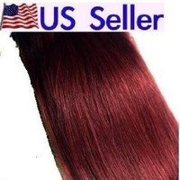 "Full Head 22"" 100% REMY Human Hair Extensions 7Pcs Clip in #99J BURGUNDY RED"