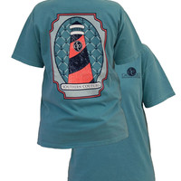 Southern Couture Preppy Lighthouse Anchor Comfort Colors Seafoam Girlie  Bright T Shirt
