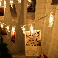 Card Photo Clip String Lights Battery Operated LED Fairy Novelty Starry Garland Festival Wedding Christmas Decorations for Home