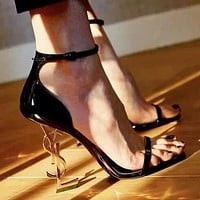 YSL Yves Saint Laurent Fashion Women Sexy Letter High Heels Shoes Sandals Shoes